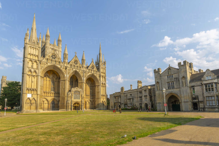 View of Gothic facade of Peterborough Cathedral, Peterborough